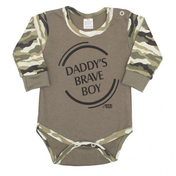 New Baby Kojenecké body s dlouhým rukávem New Baby Army boy Zelená