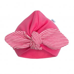 New Baby Dívčí čepička turban New Baby For Girls stripes Růžová