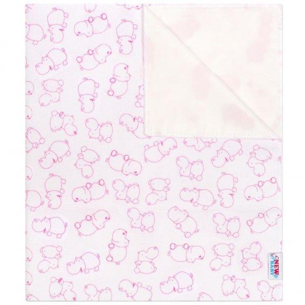 New Baby Nepromokavá flanelová podložka New Baby hrošík bílo-růžový Růžová