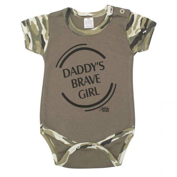 New Baby Kojenecké body s krátkým rukávem New Baby Army girl Zelená