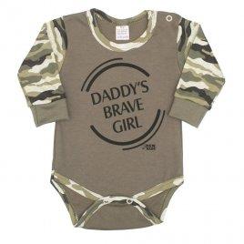 New Baby Kojenecké body s dlouhým rukávem New Baby Army girl