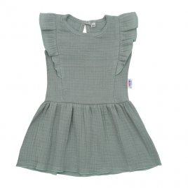 New Baby Kojenecké mušelínové šaty New Baby Summer Nature Collection mátové