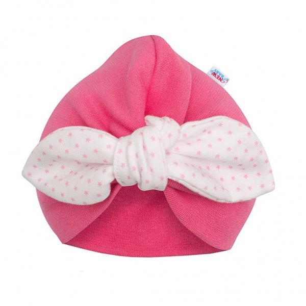 New Baby Dívčí čepička turban New Baby For Girls dots Růžová