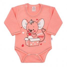 New Baby Kojenecké body s dlouhým rukávem New Baby Mouse lososové