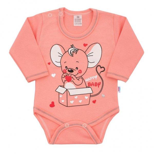 New Baby Kojenecké body s dlouhým rukávem New Baby Mouse lososové Růžová