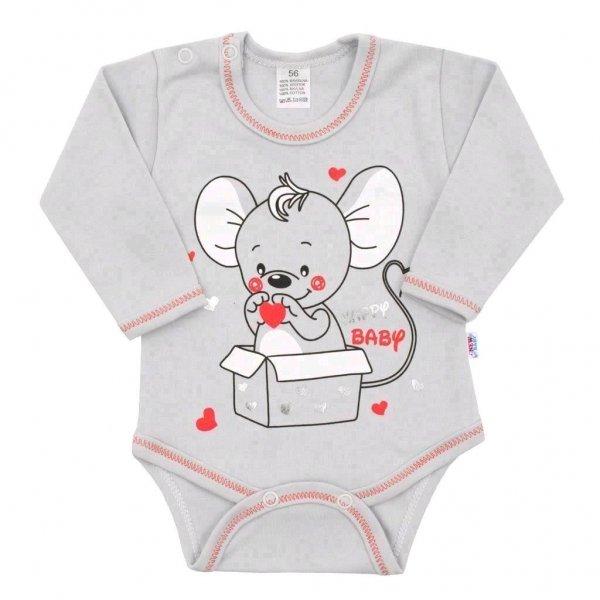 New Baby Kojenecké body s dlouhým rukávem New Baby Mouse šedé Šedá