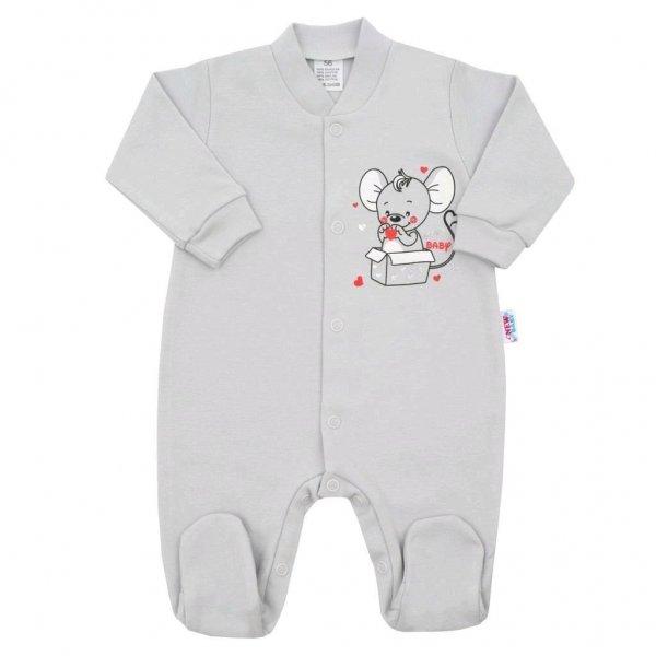 New Baby Kojenecký overal New Baby Mouse šedý Šedá