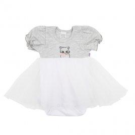 New Baby Kojenecké body s tylovou sukýnkou New Baby Wonderful šedé