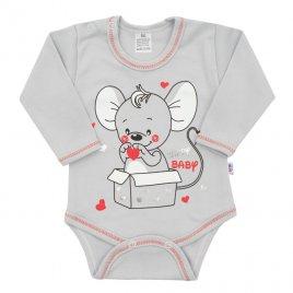 New Baby Kojenecké body s dlouhým rukávem New Baby Mouse šedé