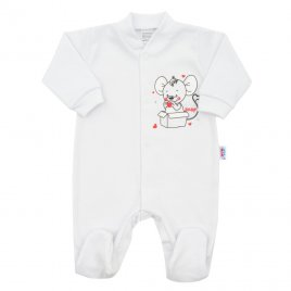 New Baby Kojenecký overal New Baby Mouse bílý