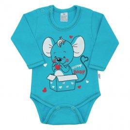 New Baby Kojenecké body s dlouhým rukávem New Baby Mouse tyrkysové