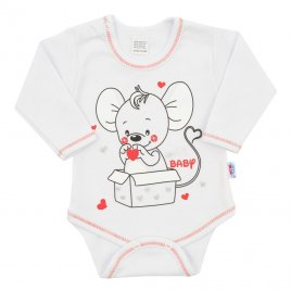 New Baby Kojenecké body s dlouhým rukávem New Baby Mouse bílé