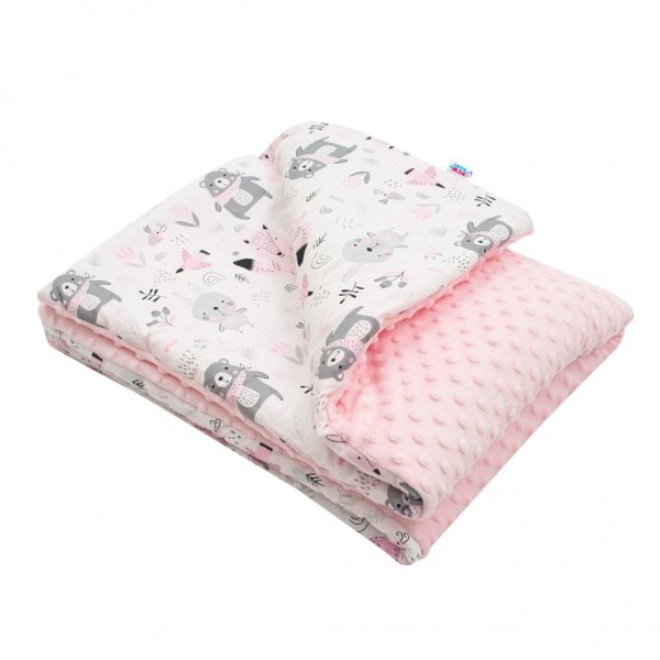 New Baby Dětská deka z Minky s výplní New Baby Medvídci růžová 80x102 cm Růžová