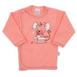 New Baby Kojenecká košilka New Baby Mouse lososová