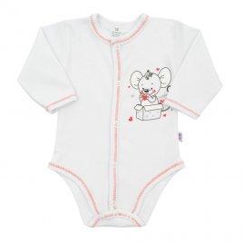 New Baby Kojenecké celorozepínací body New Baby Mouse bílé