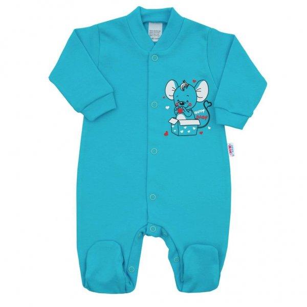 New Baby Kojenecký overal New Baby Mouse tyrkysový Tyrkysová