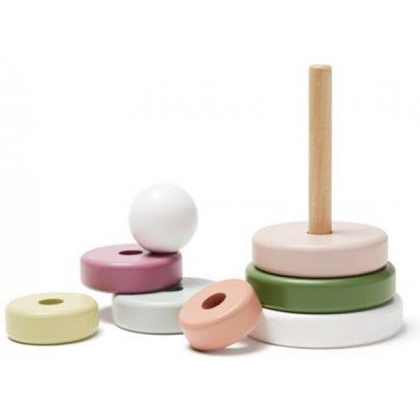 Kids concept Stohovací kroužky dřevěné Edvin White