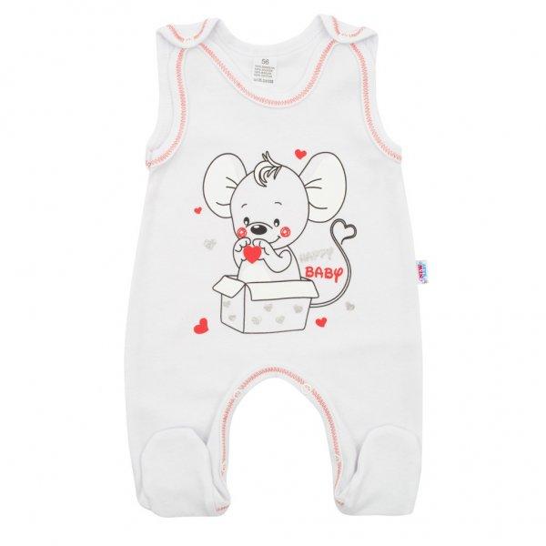 New Baby Kojenecké dupačky New Baby Mouse bílé Bílá