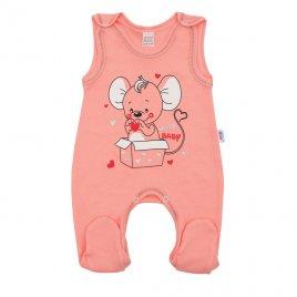 New Baby Kojenecké dupačky New Baby Mouse lososové