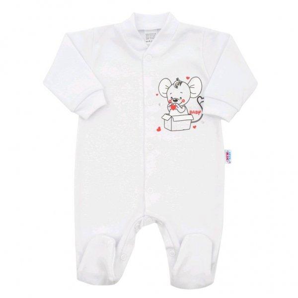 New Baby Kojenecký overal New Baby Mouse bílý Bílá