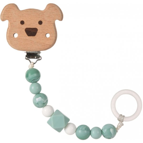 Lässig Soother Holder Wood/Silicone Little Chums Dog