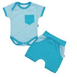 New Baby 2-dílná letní bavlněná souprava New Baby Perfect Summer tyrkysová