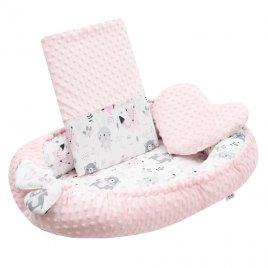 New Baby Luxusní hnízdečko s polštářkem a peřinkou New Baby z Minky růžové