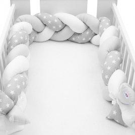 New Baby Ochranný mantinel do postýlky cop New Baby Hvězdičky šedo-bílý