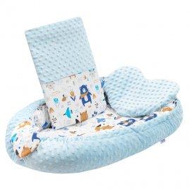 New Baby Luxusní hnízdečko s polštářkem a peřinkou New Baby z Minky modré