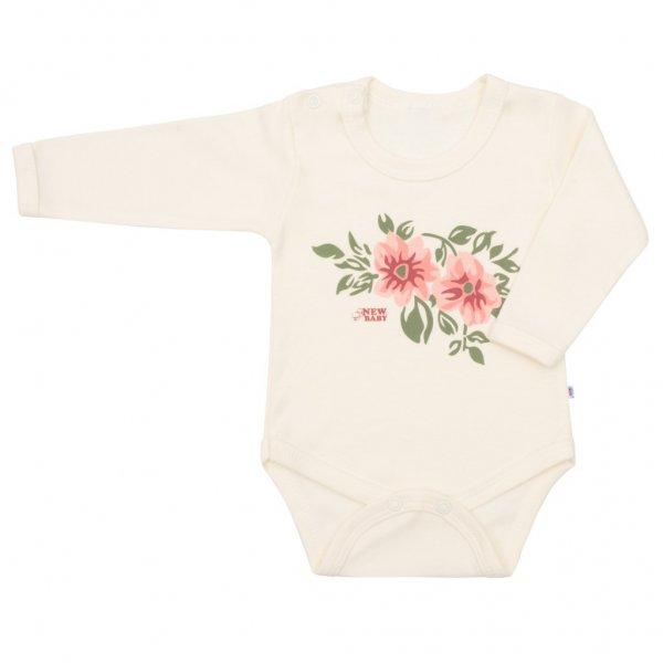 New Baby Kojenecké body s dlouhým rukávem New Baby Flowers béžové Béžová