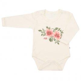 New Baby Kojenecké body s dlouhým rukávem New Baby Flowers béžové