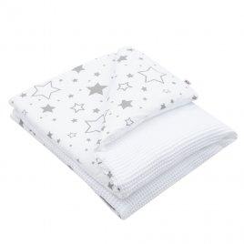 New Baby Dětská deka s výplní New Baby Vafle bílá hvězdičky 80x102 cm