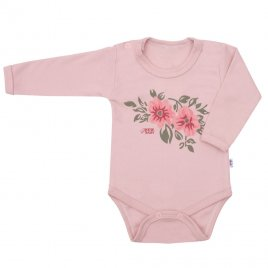 New Baby Kojenecké body s dlouhým rukávem New Baby Flowers růžové