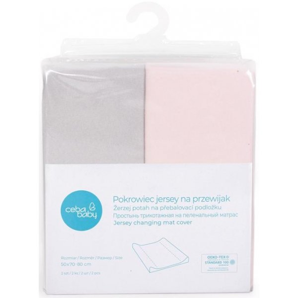 Ceba Potah na přebalovací podložku 50x70-80cm 2ks Light Grey+Pink