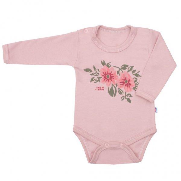 New Baby Kojenecké body s dlouhým rukávem New Baby Flowers růžové Růžová