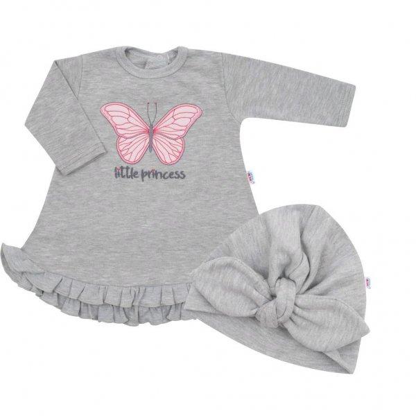 New Baby Kojenecké šatičky s čepičkou-turban New Baby Little Princess šedé Šedá