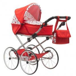 New Baby Dětský Retro kočárek pro panenky 2v1 New Baby Anička červený se srdíčky