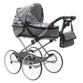 New Baby Dětský Retro kočárek pro panenky 2v1 New Baby Nella šedý