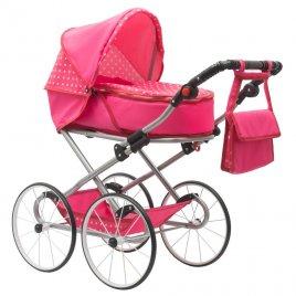 New Baby Dětský Retro kočárek pro panenky 2v1 New Baby Anetka růžový s puntíky