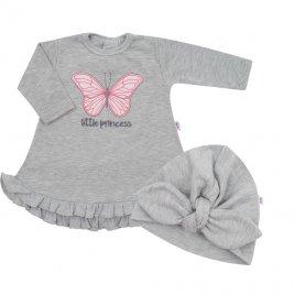 New Baby Kojenecké šatičky s čepičkou-turban New Baby Little Princess šedé