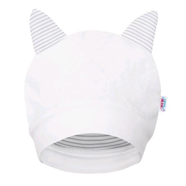 New Baby Luxusní dětská zimní čepička s oušky New Baby Snowy collection Bílá