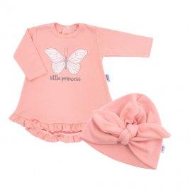 New Baby Kojenecké šatičky s čepičkou-turban New Baby Little Princess růžové