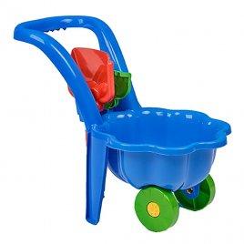 Bayo Dětské zahradní kolečko s lopatkou a hráběmi BAYO Sedmikráska modré