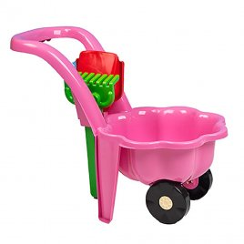 Bayo Dětské zahradní kolečko s lopatkou a hráběmi BAYO Sedmikráska růžové
