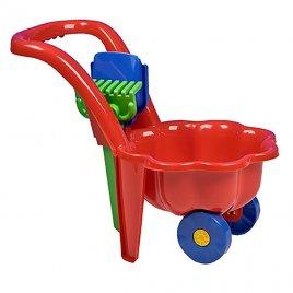 Bayo Dětské zahradní kolečko s lopatkou a hráběmi BAYO Sedmikráska červené