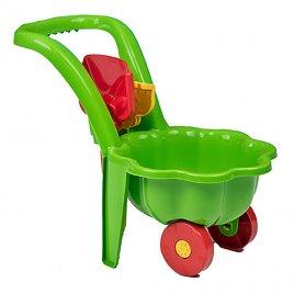 Bayo Dětské zahradní kolečko s lopatkou a hráběmi BAYO Sedmikráska zelené