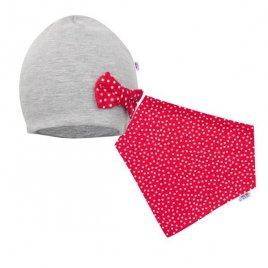 New Baby Kojenecká čepička s šátkem na krk New Baby Missy šedo-červená