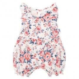New Baby Kojenecký letní bavlněný overal New Baby Roses smetanovo-růžový