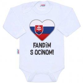 New Baby Body s potiskem New Baby Fandím s ocinom bílé
