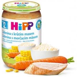 Hipp Příkrm masozeleninový Jemná zelenina s krůtím masem 220g